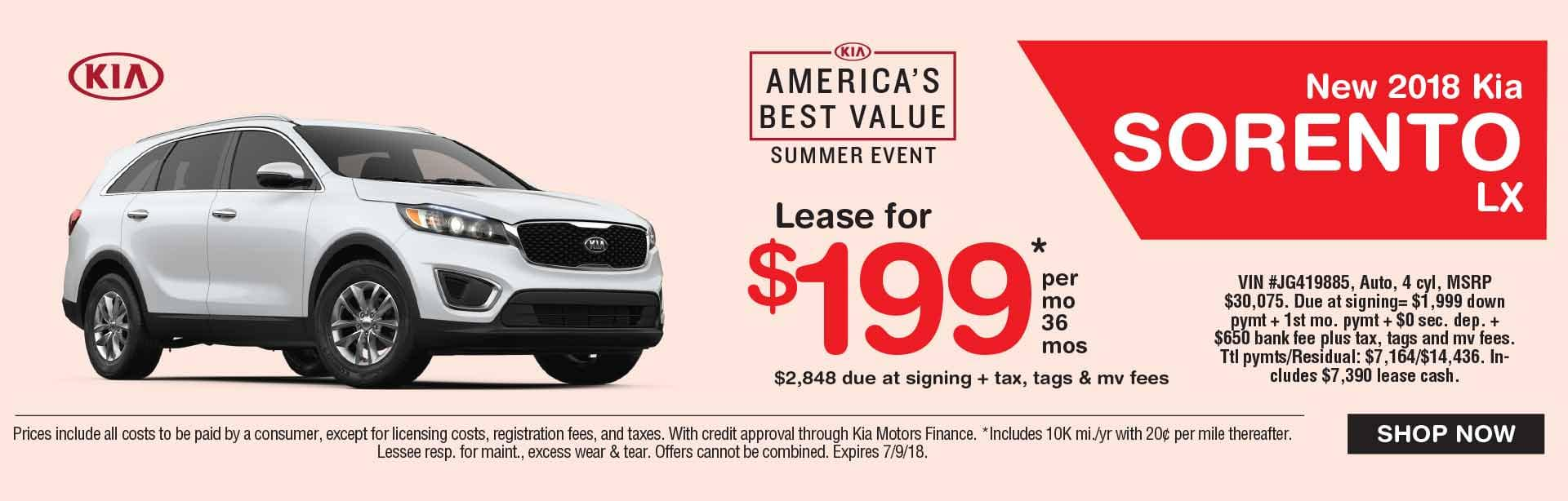 Global Kia Sorento Lease Special