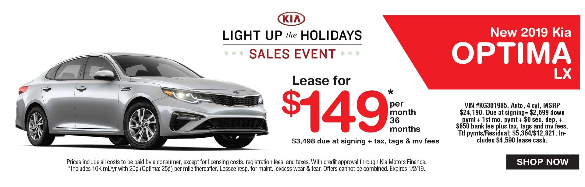 Kia Optima lease savings at Global Kia