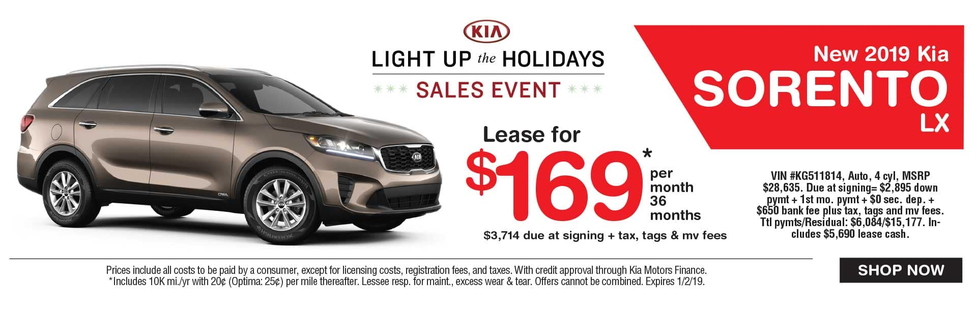 Kia Sorento lease savings at Global Kia