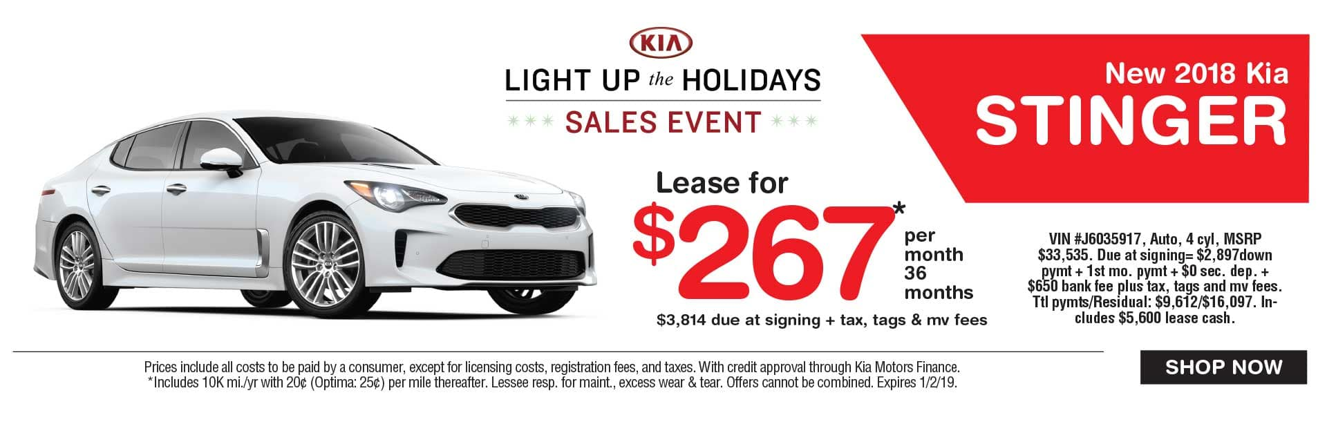 Kia Stinger lease savings at Global Kia