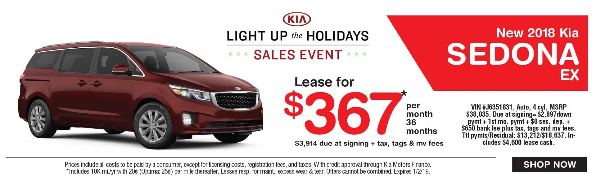 Kia Sedona lease savings at Global Kia
