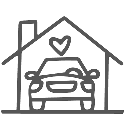 Car in front of a house icon