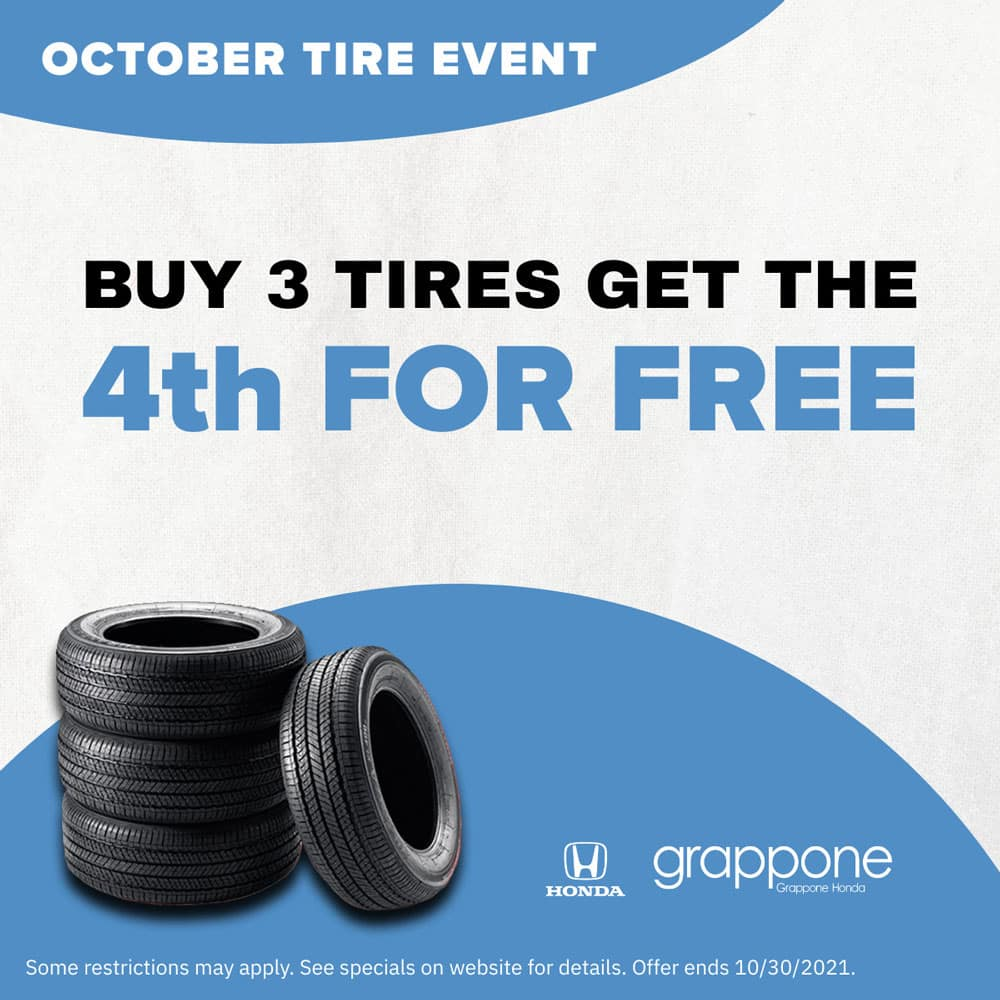 october tire event. buy 3 tires get the 4th for free. Grappone Honda