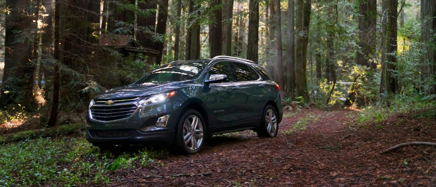 Blue 2020 Chevy Equinox Driving in the Forest
