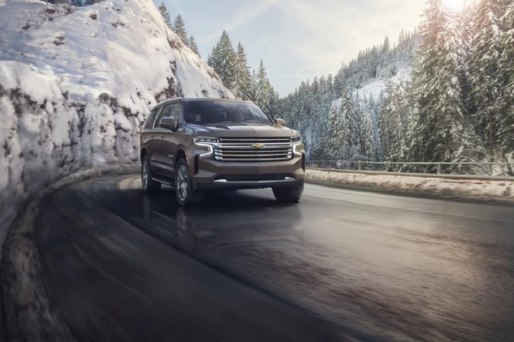 2021 Chevy Suburban driving through the mountains