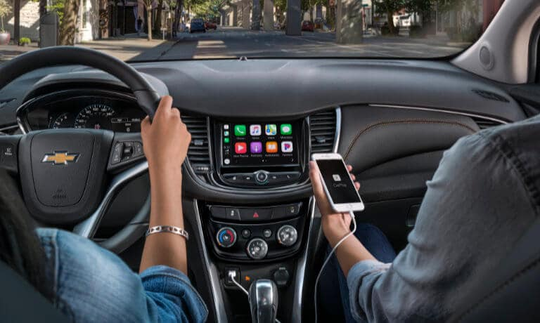 2021 Chevy Trax interior infotainment screen with Apple CarPlay