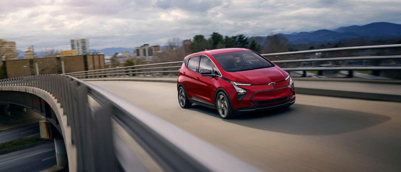 2022 Chevy bolt driving on the highway