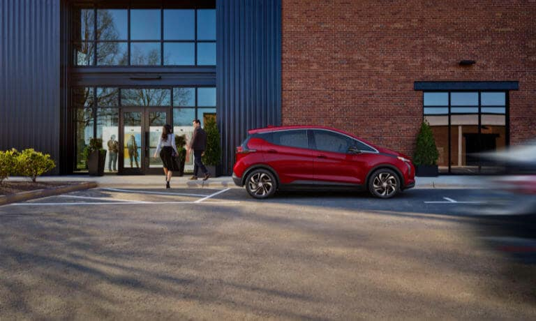 2022 Chevy Bolt parked utside a building