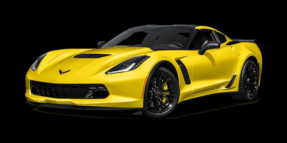 Yellow 2017 Chevrolet Corvette Z06 On White Background