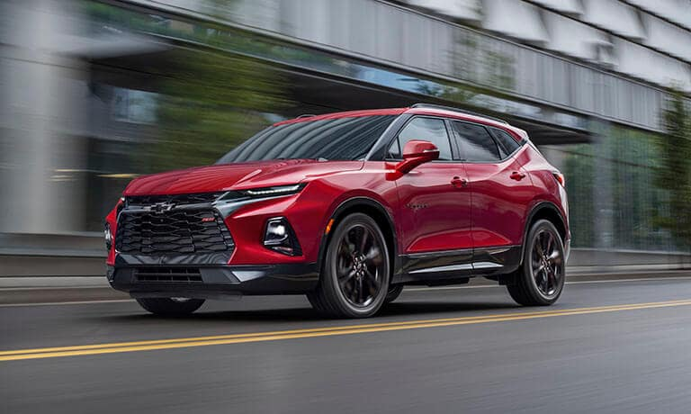 2021 Chevy Blazer exterior driving on city road