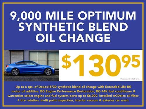 9,000 Mile Optimum Synthetic Blend Oil Change