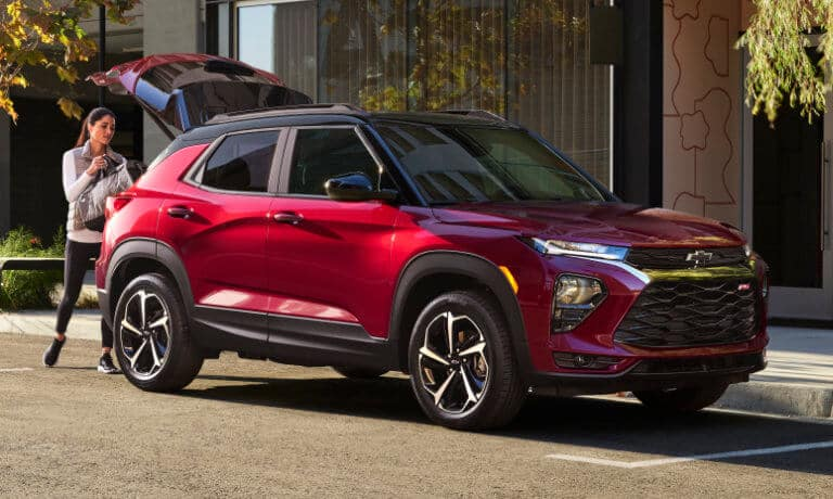 2021 Chevy Trailblazer with a women opening th trunk