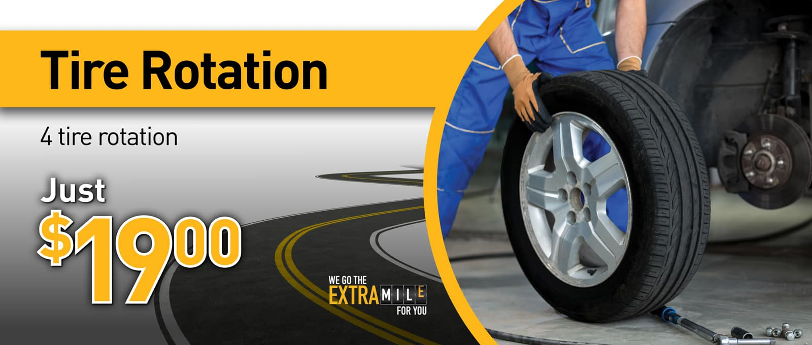 July tire rotation service ad