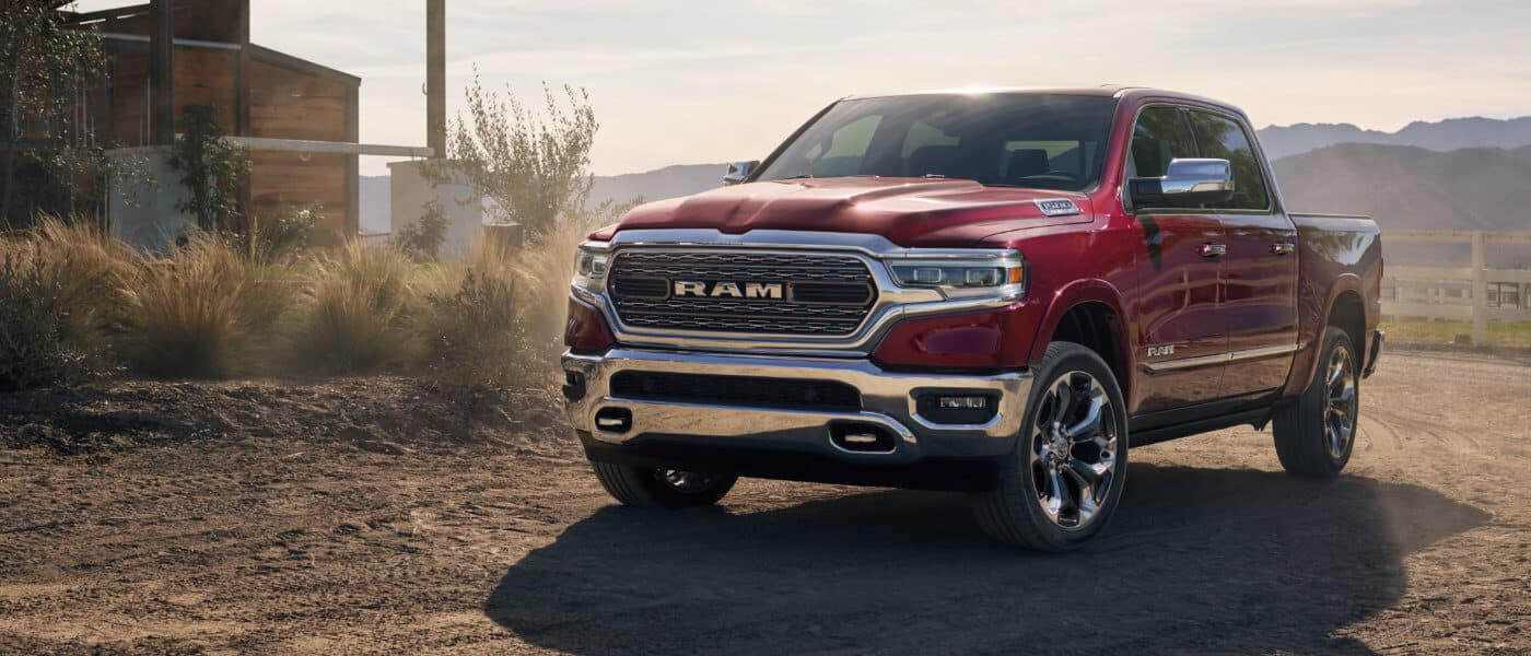2021 Ram 1500 parked outside a ranch