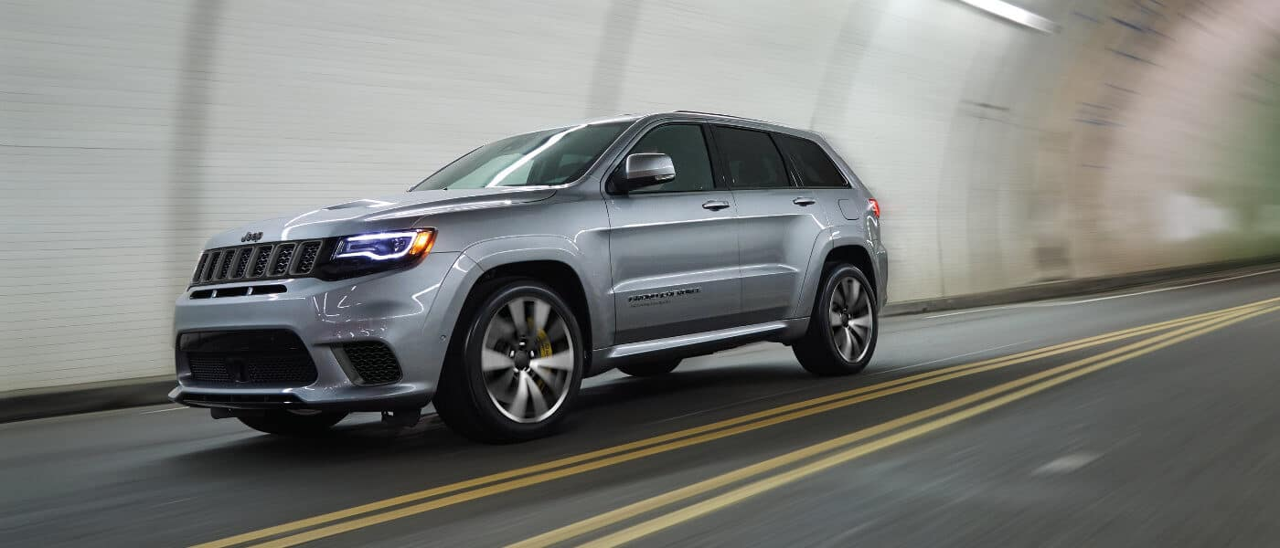 2021 Jeep Grand Cherokee driving through a tunnel