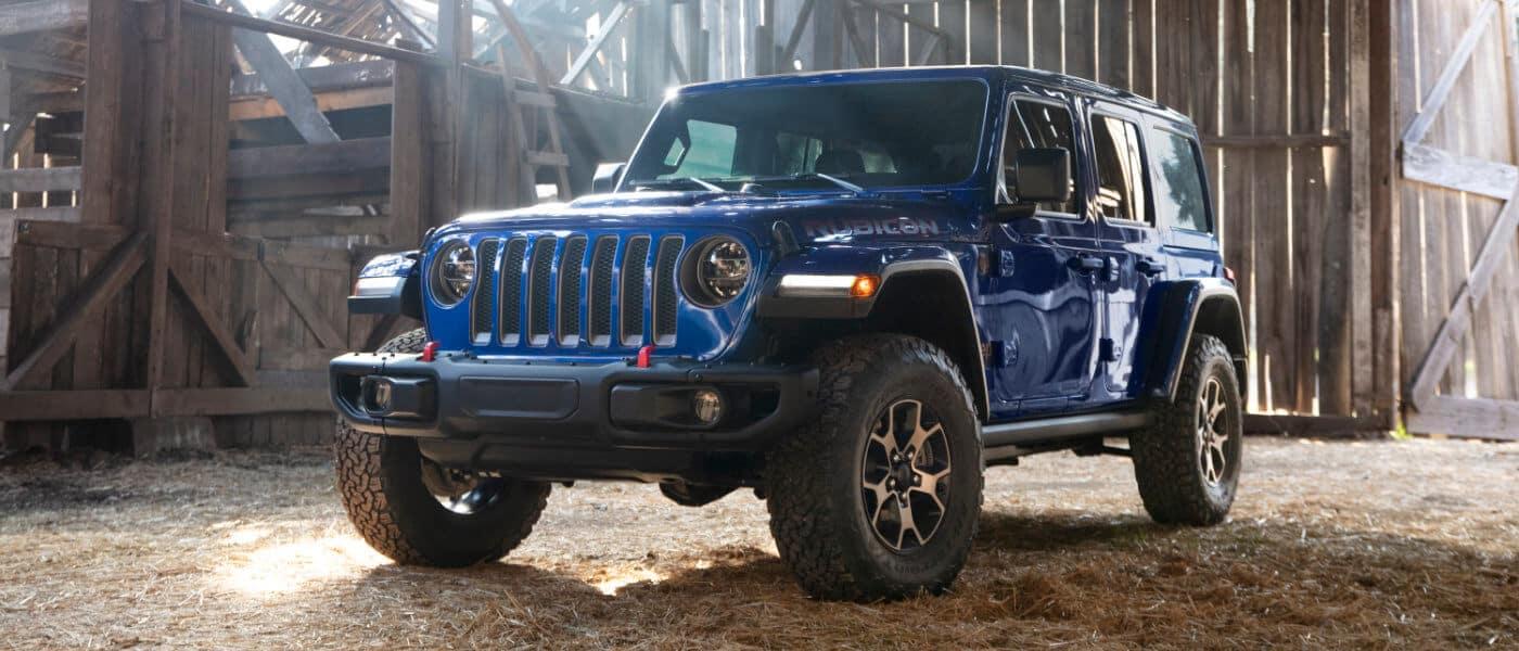 2021 Jeep Wrangler parked inside a barn
