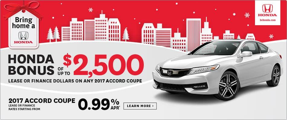 Bring Home a 2017 Honda Accord $2500 Honda Bonus