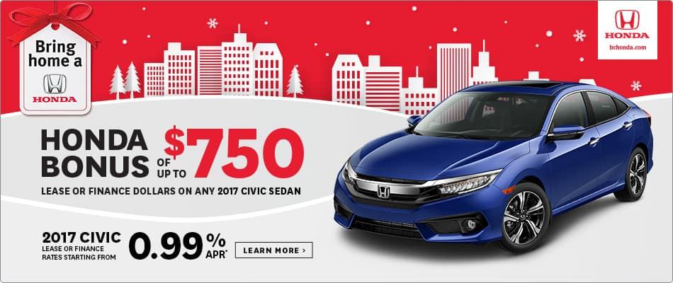 Bring Home a 2017 Honda Civic $750 Honda Bonus