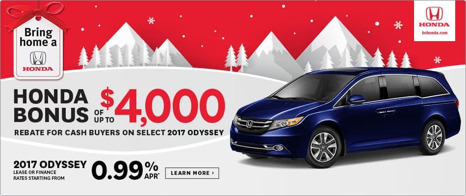 Bring Home a 2017 Honda Odyssey $4000 Honda Bonus