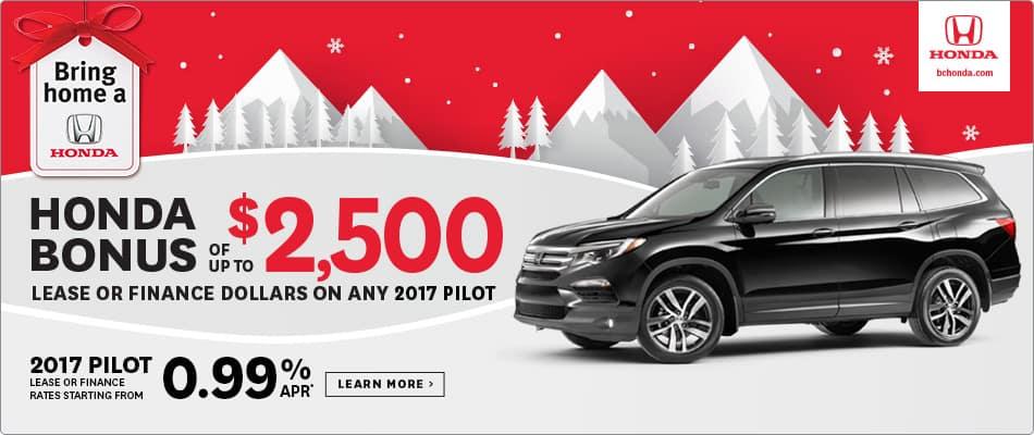 Bring Home a 2017 Honda Pilot $2500 Honda Bonus