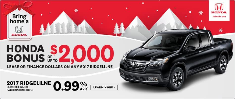 Bring Home a 2017 Honda Ridgeline $2000 Honda Bonus