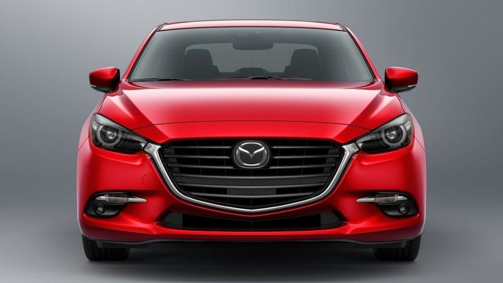 2017 Mazda3 front fascia against a gray background