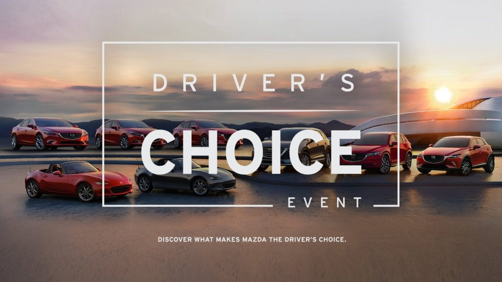 "Complete lineup of 2017 Mazda vehicles with text over it advertising the ""Driver's Choice Event"""