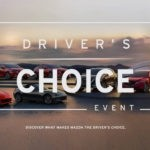 """Complete lineup of 2017 Mazda vehicles with text over it advertising the """"Driver's Choice Event"""""""
