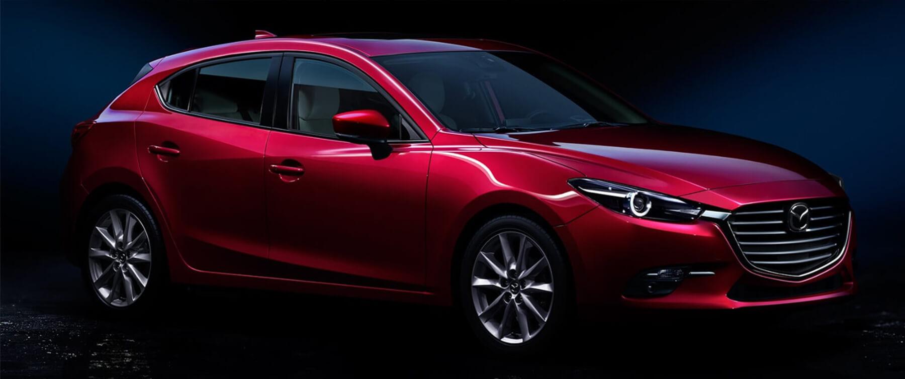 2017 Red Mazda3 5-Door hatchback Side View