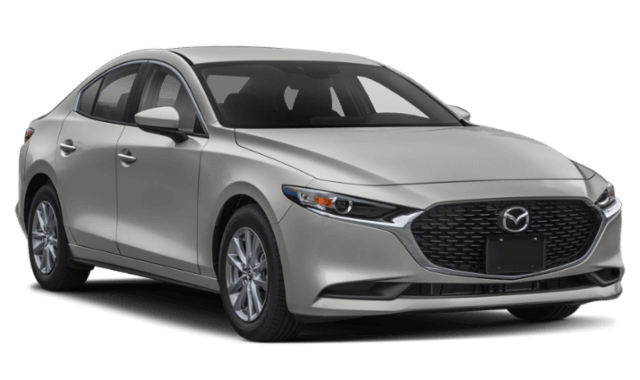 silver Mazda3 sedan front view