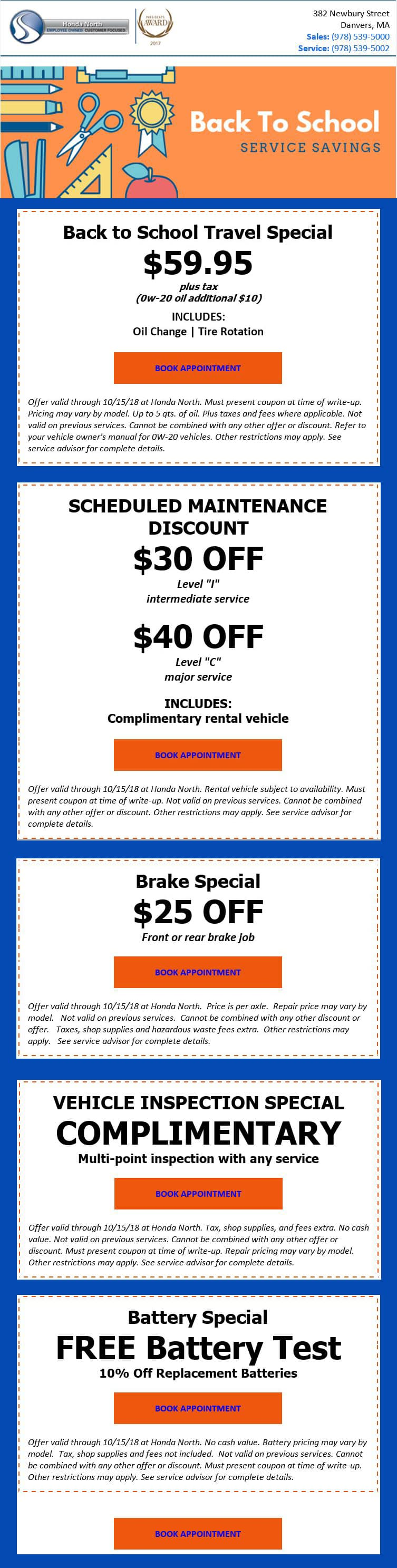 ... Thanks To Our Available Auto Repair Coupons And Other Deals. For  Top Quality Service And Reasonable Prices, Make Your Way To Honda North In  Danvers!