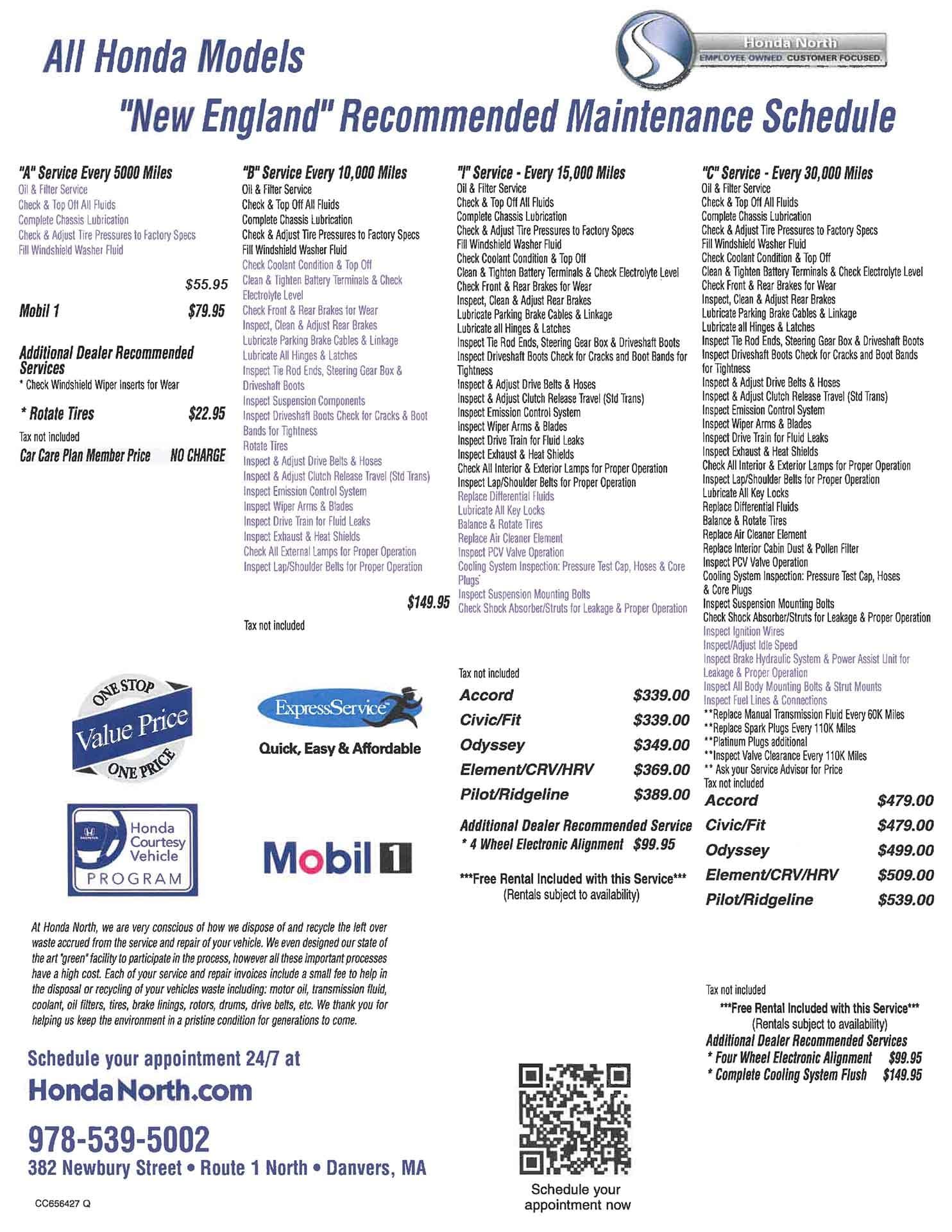 Honda Crv 2019 Maintenance Schedule Recommended Honda Maintenance | Danvers Honda Service
