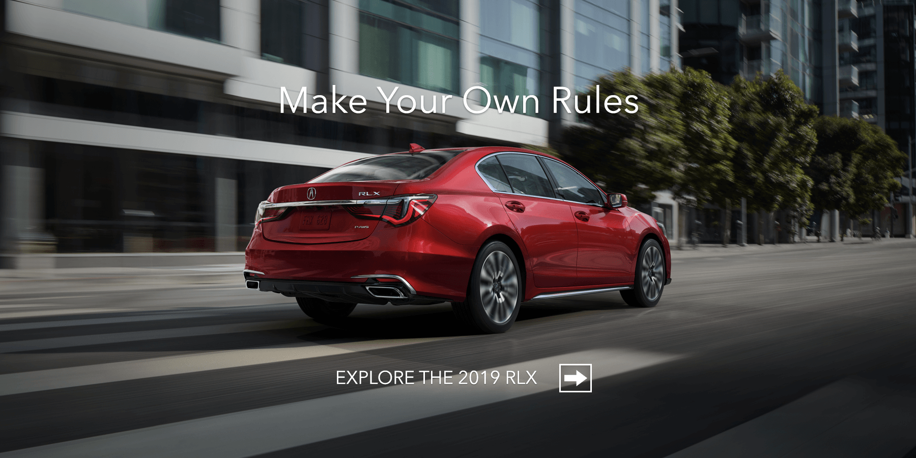 2019 Acura RLX Brilliant Red Metallic Rear Angle HP Slide