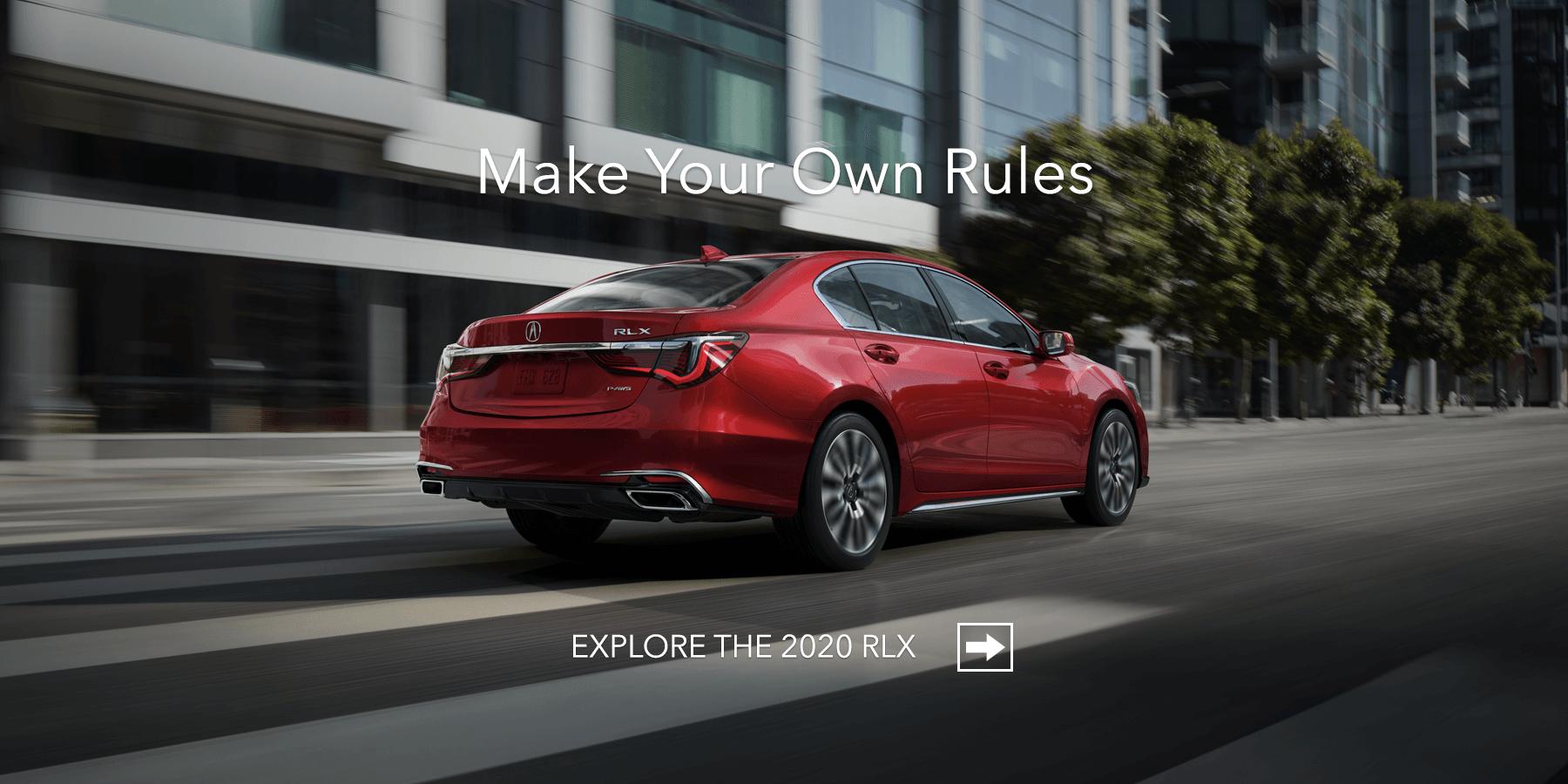 2020 Acura RLX Brilliant Red Metallic Rear Angle HP Slide