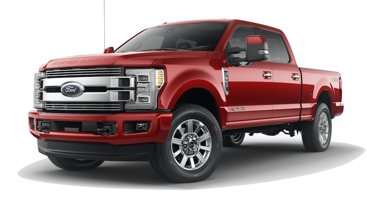A red 2018 Ford F-350 Limited