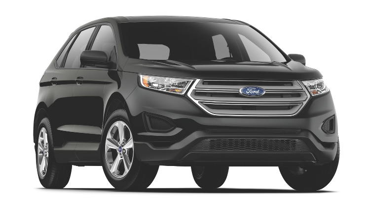 A black Ford Edge SE on a transparent background