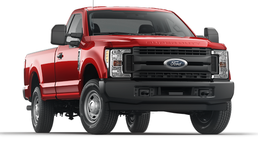 A red Ford F-250