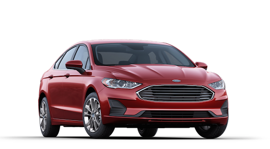 A red 2019 Ford Fusion