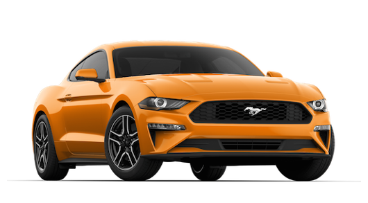 An orange 2019 Ford Mustang