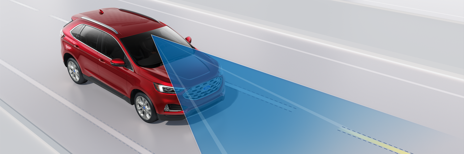 A red 2019 Ford Edge using pre-collision assist