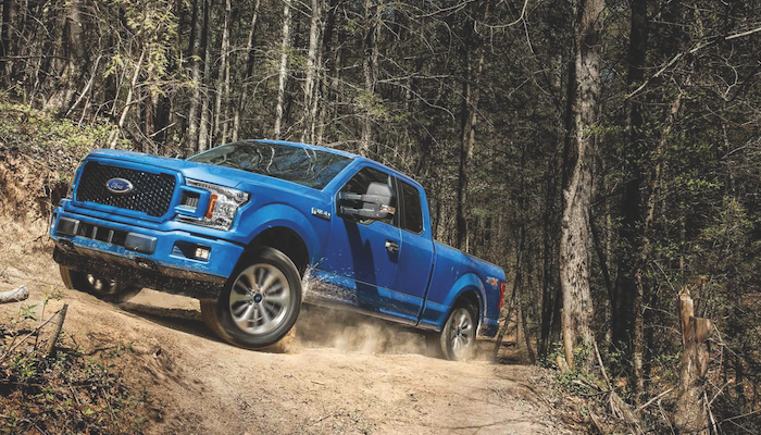 A blue Ford F-150 driving through the woods