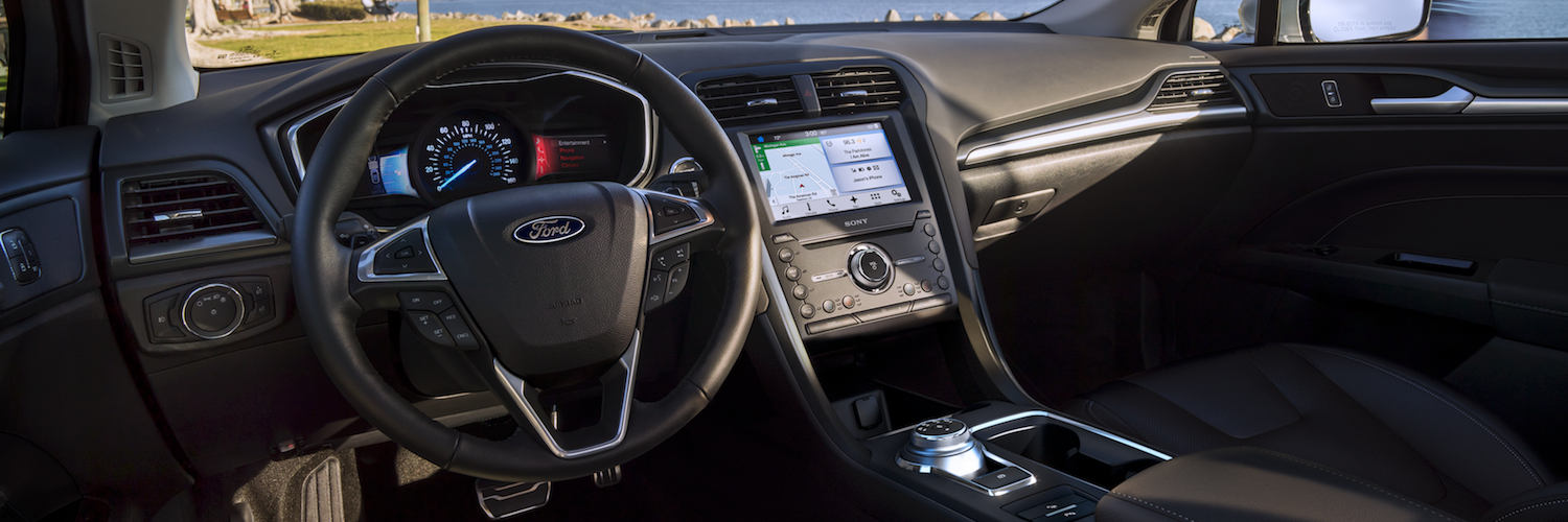 The interior dashboard of the Ford Fusion