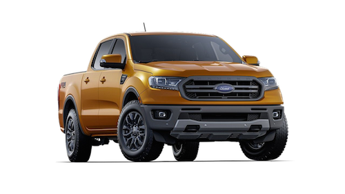 An orange 2019 Ford Ranger Lariat