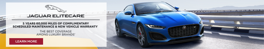 Jaguar Elitecare, the best coverage among luxury brands. 5 years 60,000 miles of complimentary scheduled maintenance and new vehicle warranty. Clicks to more information. F-TYPE Coupe driving down a highway.