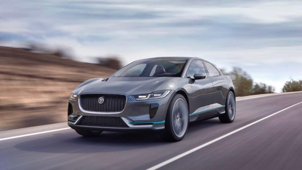 All new all electric SUV Jaguar I pace driving shot