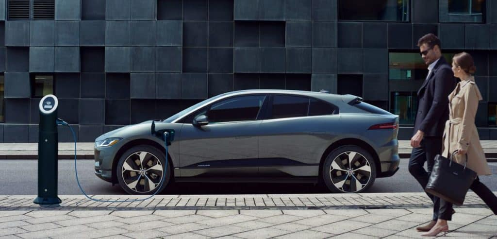 All electric SUV Jaguar I pace plugged in