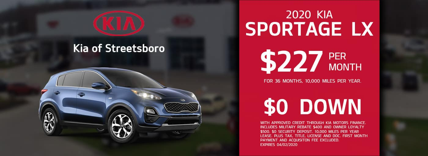 Lease the 2020 Kia Sportage LX for only $227 per month!