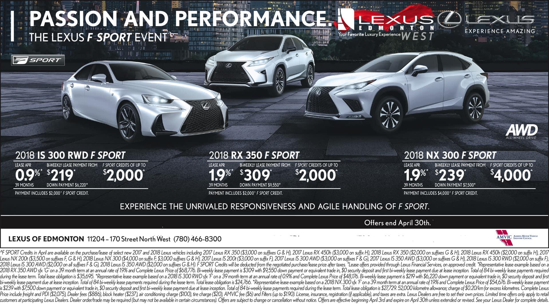 April Lexus Promotions