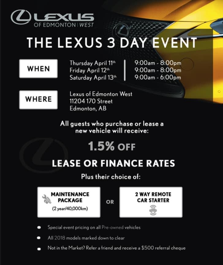 Lexus 3 Day Event April 11 - 13