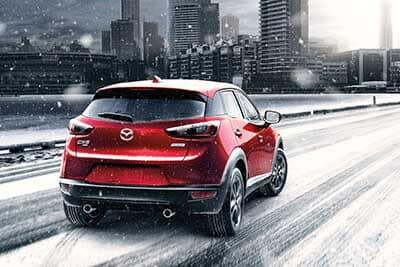 Mazda CX-3 driving on snow covered roads